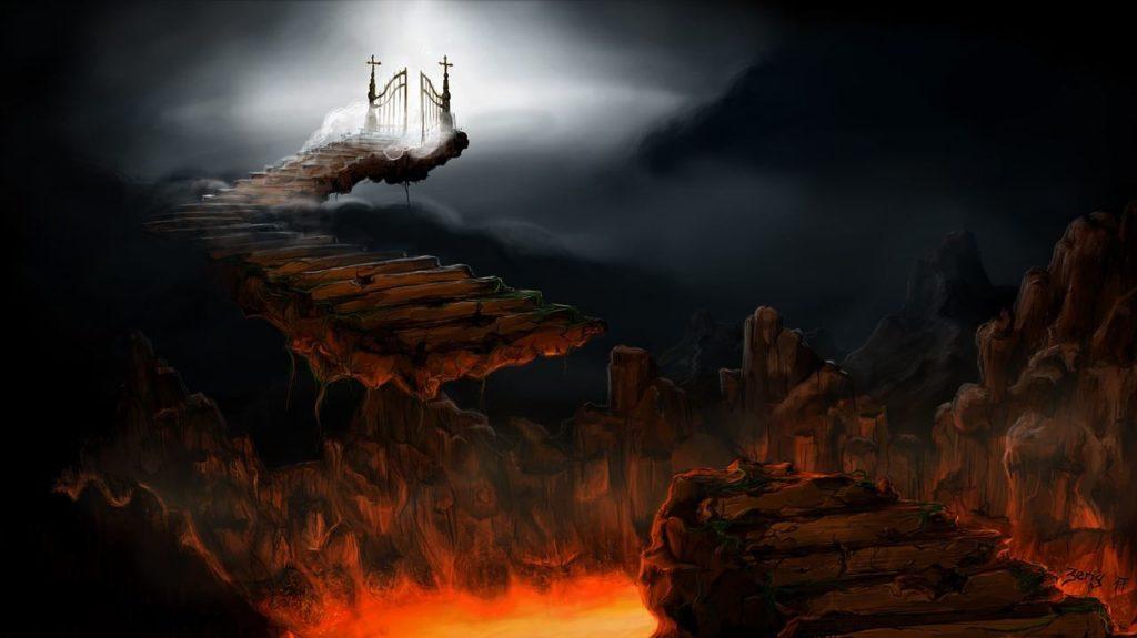 Путь через ад: обрушившийся мост над адским пеклом внизу и врата, озаряемые светом наверху