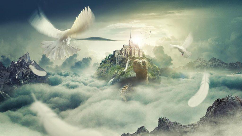 Плоды фантазии: замок на спине черепахи в облаках, озарённый солнцем