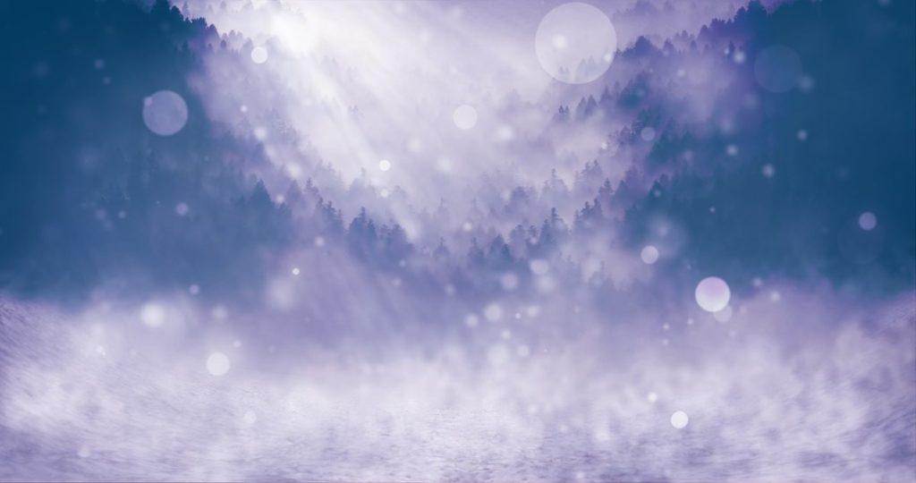 Зимний ландшафт, преображённый сияющим светом