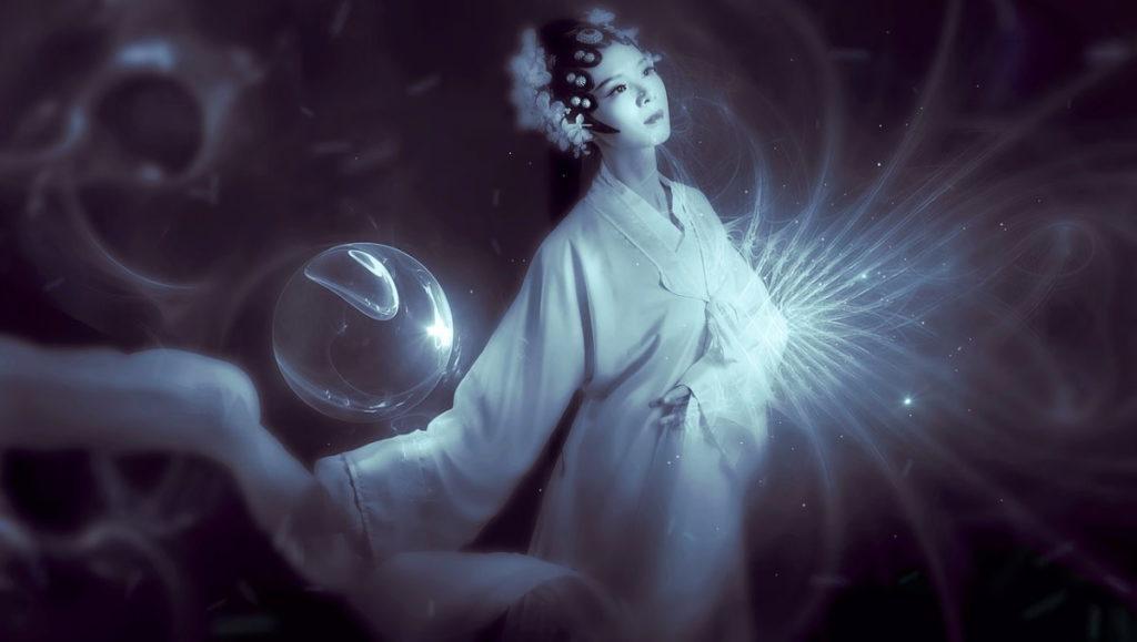 Девушка в Духе, окружённая потоками энергии