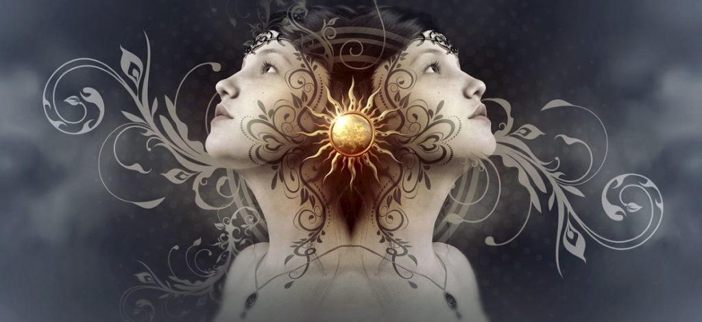 Солнце, символ духовного просветления, на фоне лица девушки
