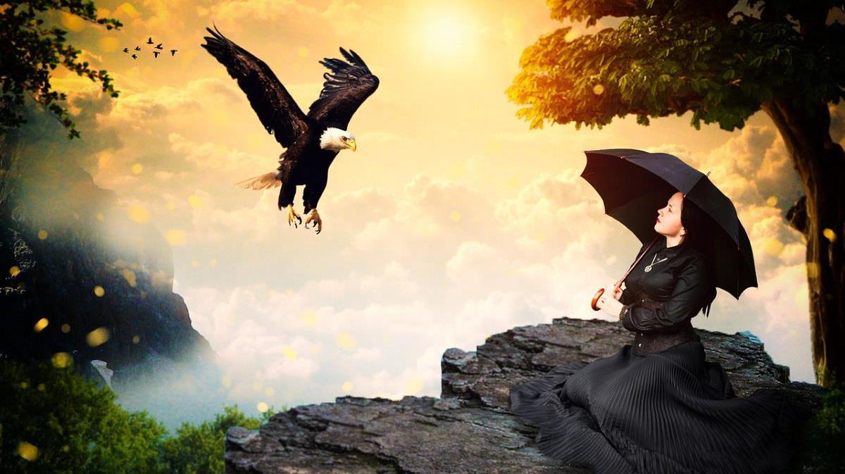 Орёл, выражающий Силу, спускается к женщине в состоянии бессилия