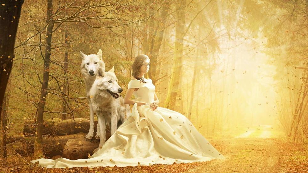 Девушка, озарённая светом, бесстрашно сидит рядом с волками