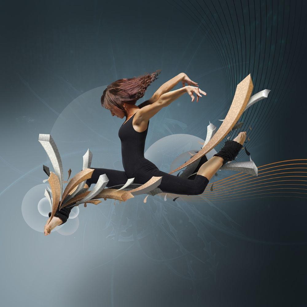 Пластичная танцовщица во время смены паттерна, обозначенного линиями
