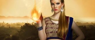 Внутренний огонь, исходящий из руки красивой женщины