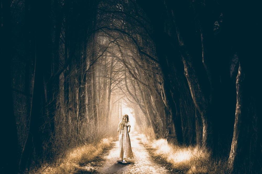 Девочка, входящая в страх - тёмный, пугающий лес