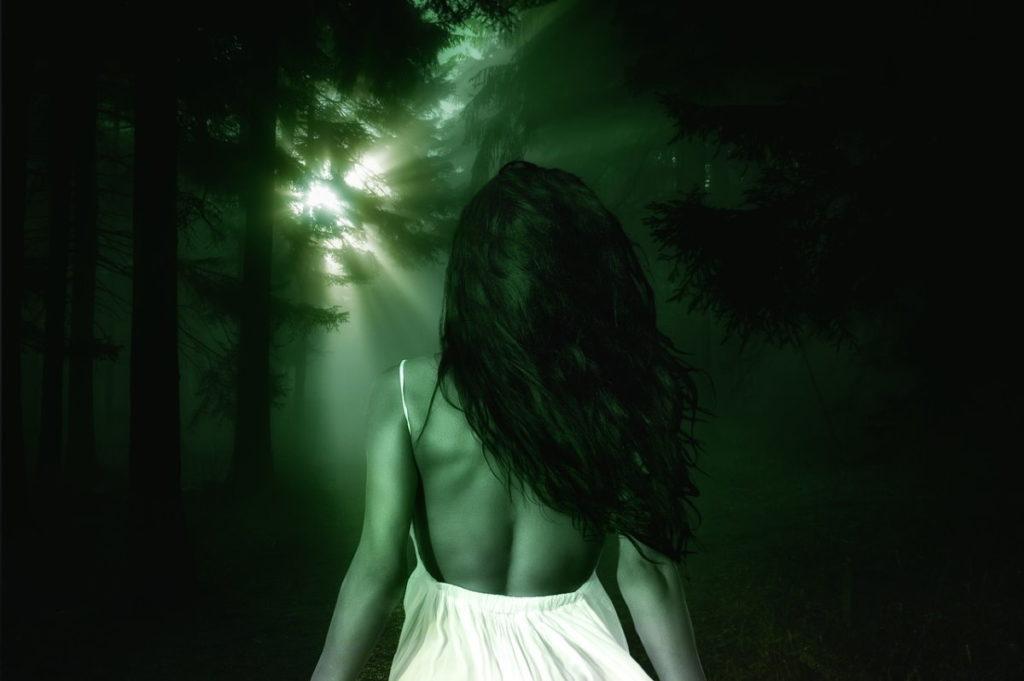 Женщина, идущая через омрачение (тёмный лес) к ясности (пробивающимся лучам Солнца)