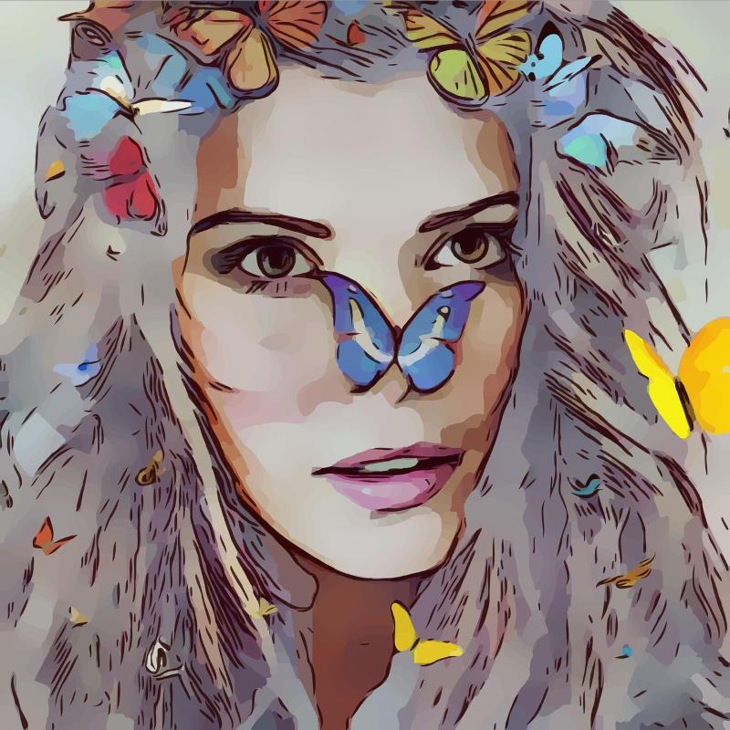 Лицо красивой девушки, окружённое бабочками любви