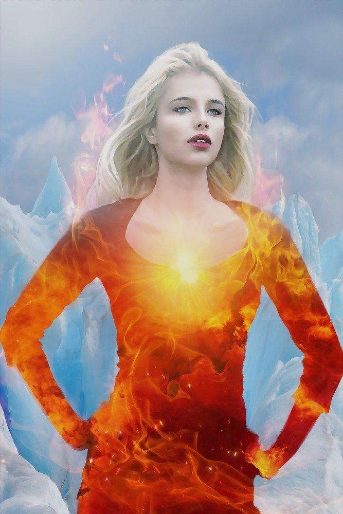Девушка с полыхающим огнём Чувства в груди