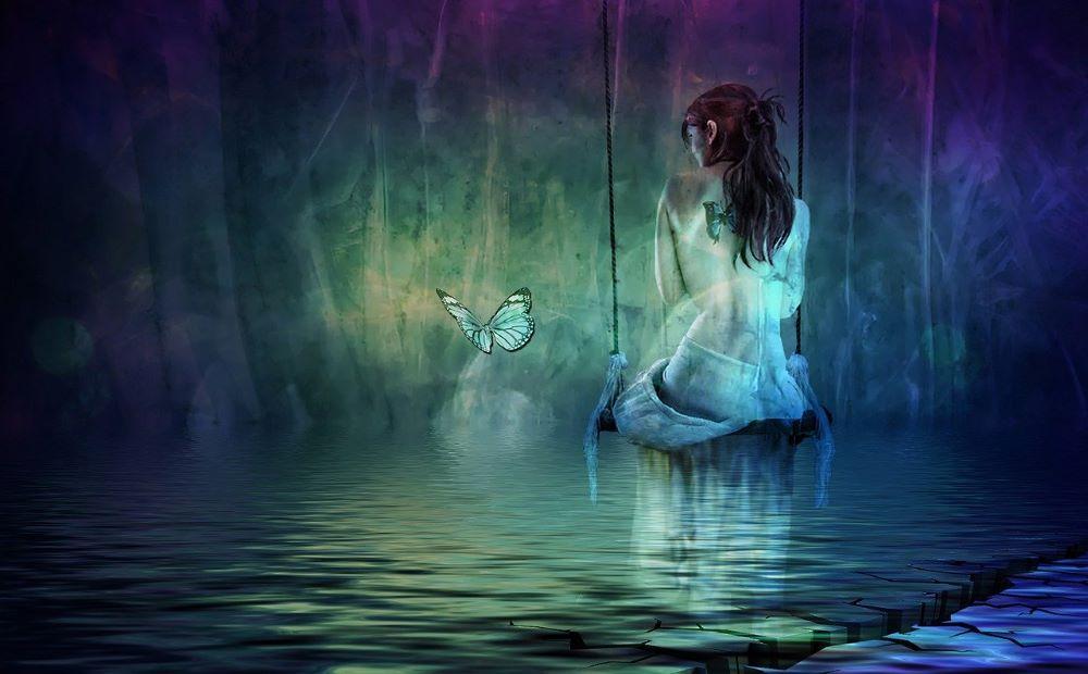 Девушка, сбежавшая от мира и бабочка, символизирующая Дух
